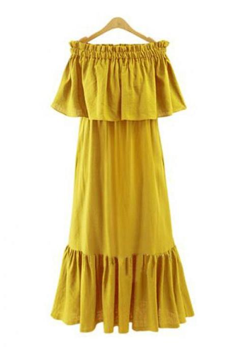 Mustard Yellow Ruffled Off-The-Shoulder Maxi Shift Dress