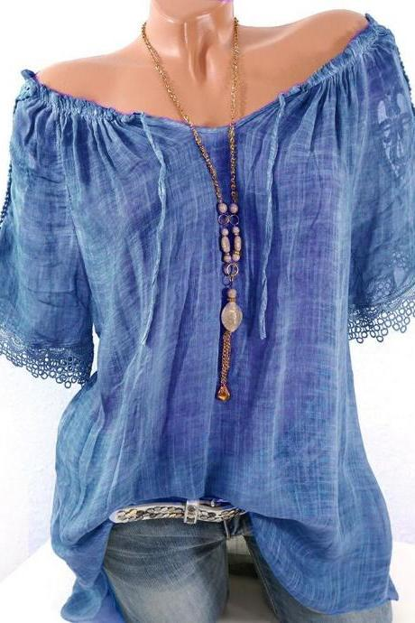 Women Lace Patchwork T-Shirt Summer Short Sleeve Casual Loose Plus Size Off the Shoulder Top Blouse blue