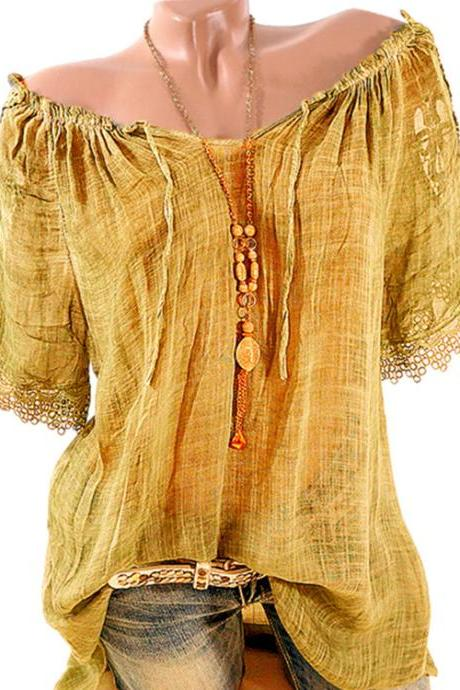 Women Lace Patchwork T-Shirt Summer Short Sleeve Casual Loose Plus Size Off the Shoulder Top Blouse dark yellow