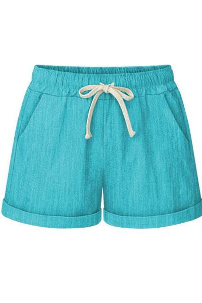Plus Size Women Shorts Drawstring Mid Waist Loose Summer Casual Mini Harem Shorts aqua