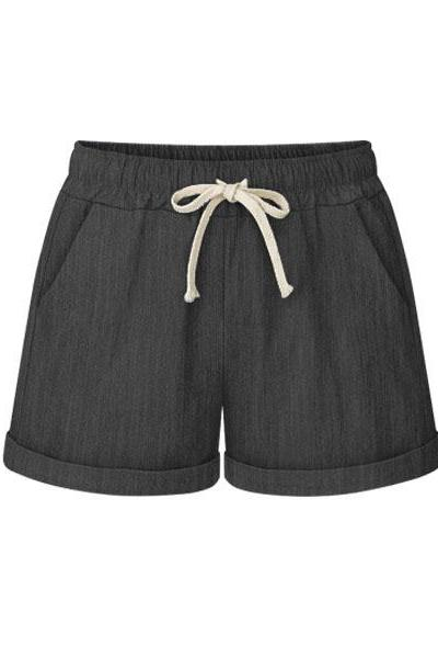 Plus Size Women Shorts Drawstring Mid Waist Loose Summer Casual Mini Harem Shorts jeans black