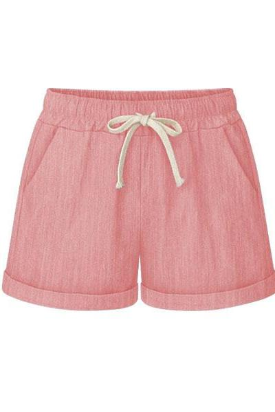 Plus Size Women Shorts Drawstring Mid Waist Loose Summer Casual Mini Harem Shorts pink