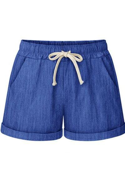 Plus Size Women Shorts Drawstring Mid Waist Loose Summer Casual Mini Harem Shorts royal blue