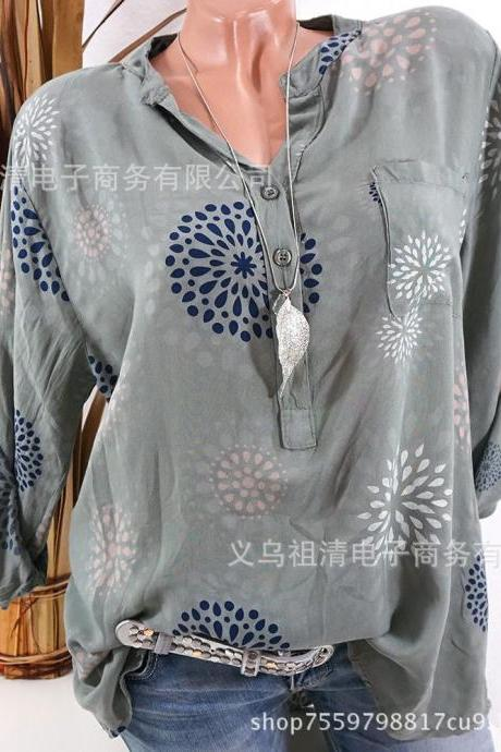 Plus Size Women Blouse V Neck Long Sleeve Button Printed Casual Tops Loose Shirt green
