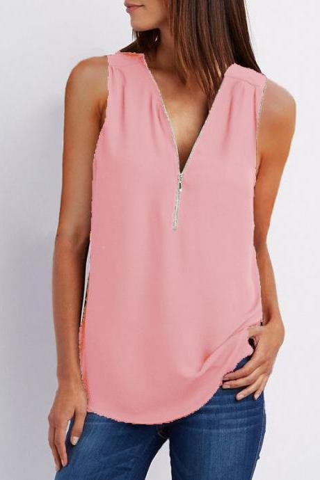 Sexy V Neck Chiffon Sleeveless Shirt Zipper Plus Size Blouse Loose Casual Top Vest pink