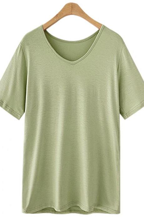 Women V Neck T Shirt Summer Short Sleeve Plus Size Casual Basic Tee Tops army green