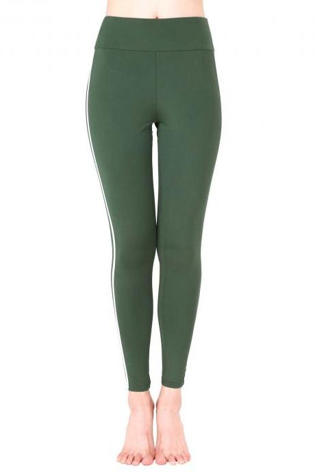 Women Yoga Striped Patchwork Leggings Slim High Waist Sports Fitness Gym Running Pants army green