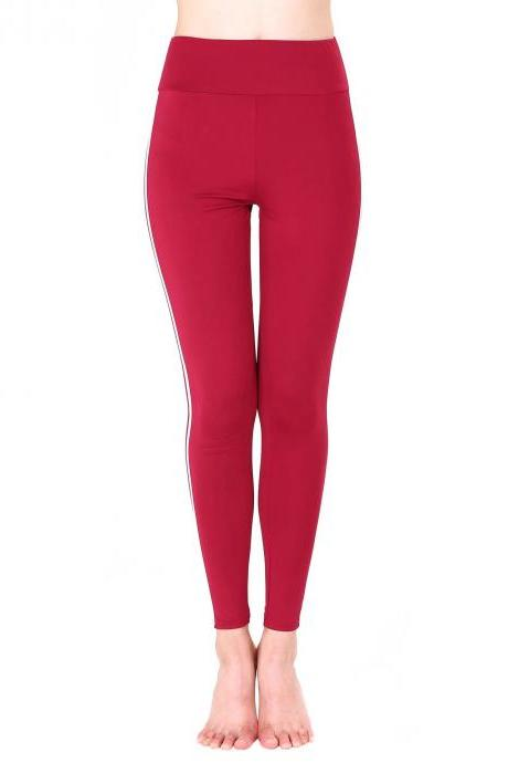 Women Yoga Striped Patchwork Leggings Slim High Waist Sports Fitness Gym Running Pants crimson