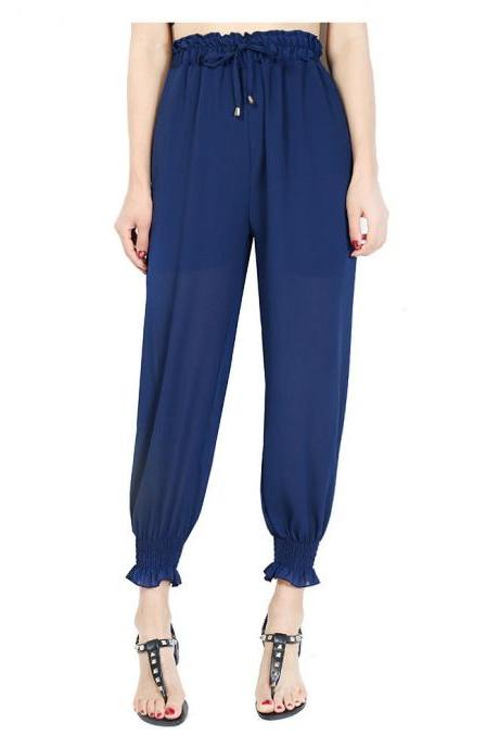 Women Chiffon Harem Pants Drawstring OL High Waist Casual Summer Loose Trousers navy blue