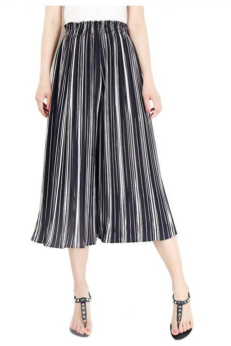 Women Striped Wide Leg Pants Loose High Waist Summer Beach Casual Pleated Trousers black