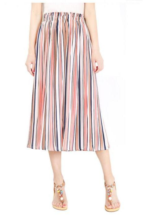Women Striped Wide Leg Pants Loose High Waist Summer Beach Casual Pleated Trousers pink