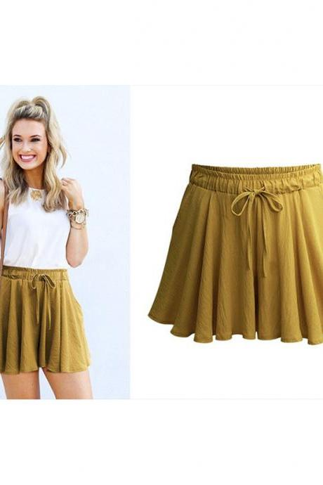 Summer Women Wide Leg Shorts Plus Size Casual Drawstring High Waist Loose Short Pants Ginger