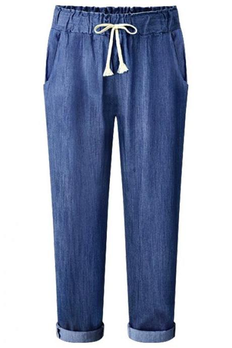 Blue Denim Mid Waist Long Joggers, Sports Pants with Drawstrings