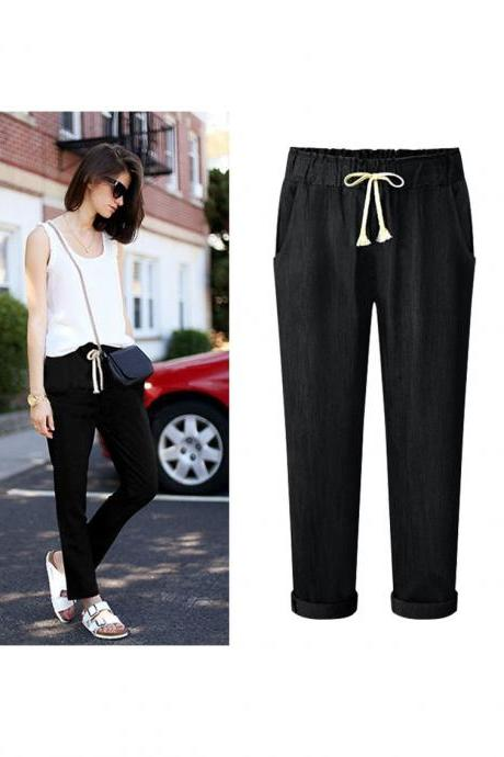 Black Casual Mid Waist Drawstring Joggers, Sports Pants