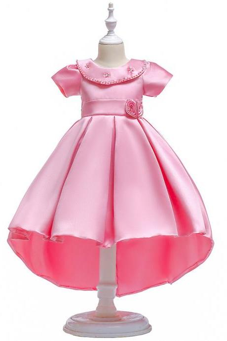 High Low Flower Girl Dress Short Sleeve Birthday Formal Party Gown Children Clothes pink