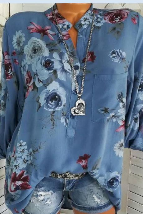 Women Shirt Floral Printed Long Sleeve V Neck Plus Size Casual Loose Tops Blouse blue