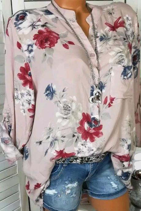 Women Shirt Floral Printed Long Sleeve V Neck Plus Size Casual Loose Tops Blouse pink