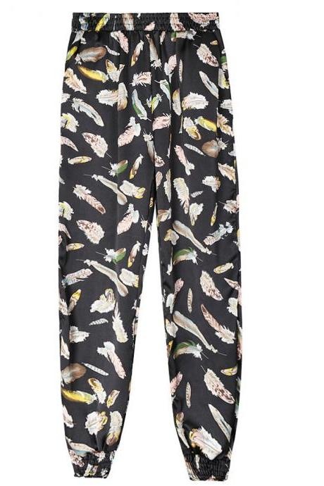 Women Harem Pants Summer Beach Elastic Waist Drawstring Loose Floral Printed Trousers9#