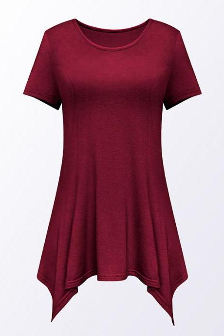 Women Asymmetric T-Shirt O Neck Short Sleeve Solid Loose Casual Tee Tops burgundy