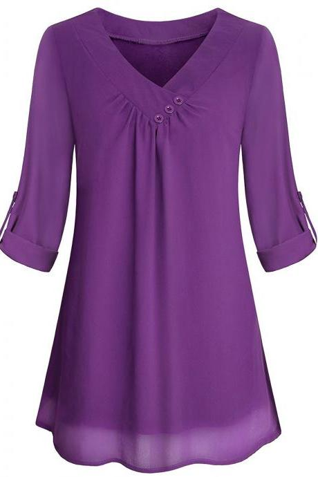 Women Chiffon Loose Blouse V Neck 3/4 Sleeve Button Casual Tops Shirt purple