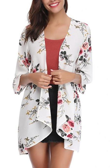 Women Casual Kimono Cardigan Half Sleeve Summer Chiffon Loose Floral Printed Coat Jacket off white