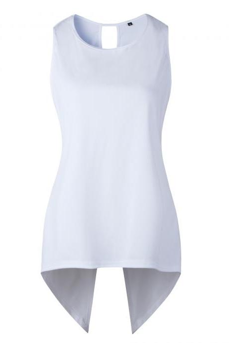 Women Sleeveless T Shirt Asymmetrical Hem Summer Casual Vest Slim Long Tee Tops off white