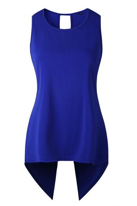 Women Sleeveless T Shirt Asymmetrical Hem Summer Casual Vest Slim Long Tee Tops royal blue