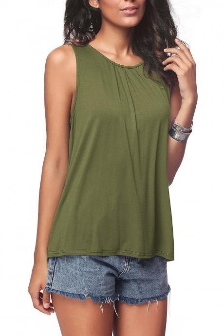 Women Sleeveless T Shirt Summer O Neck Casual Loose Vest Tank Tee Tops army green