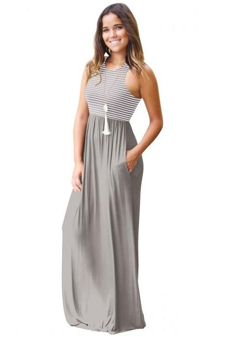 Women Boho Maxi Dress Sleeveless Summer Beach Striped Patchwok Long Sundress gray