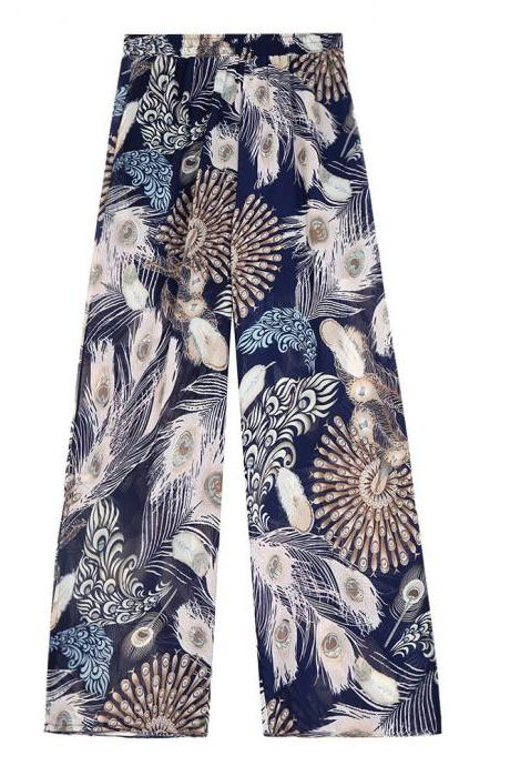 Women Chiffon Loose Casual Pants High Waist Summer Side Split Floral Printed Wide Leg Trousers 7#