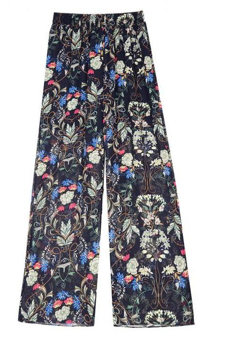 Women Chiffon Loose Casual Pants High Waist Summer Side Split Floral Printed Wide Leg Trousers 8#