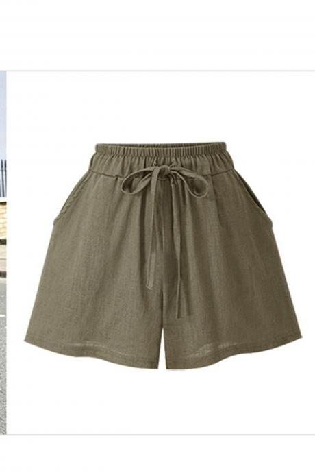Khaki Elasticised Drawstring High Waisted Shorts