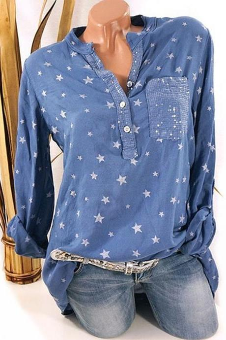 Women Star Printed Blouse Long Sleeve Sexy V Neck Loose Casual Plus Size Top Shirt blue