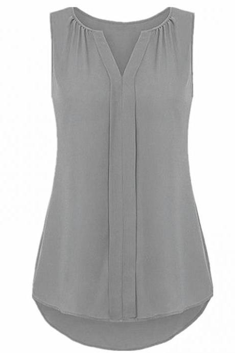 Women Chiffon Sleevless Blouse Summer V Neck Tank Tops Plus Size Loose T Shirt gray