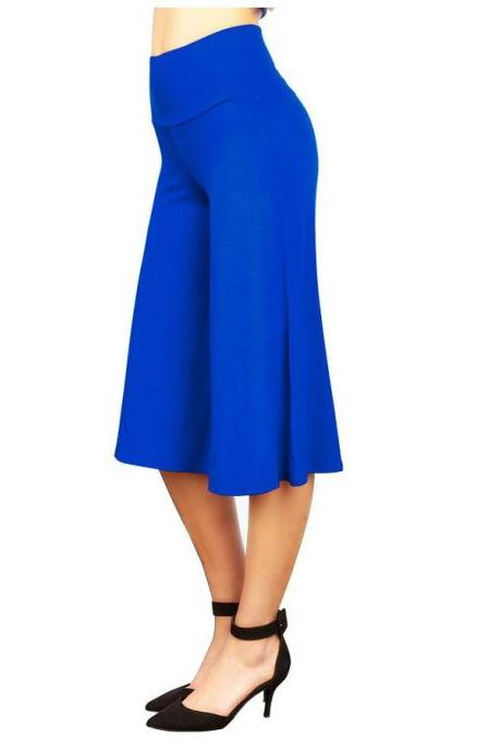 Women Wide Leg Pants High Waist Knee Length Summer Casual Loose Streetwear Trouses blue