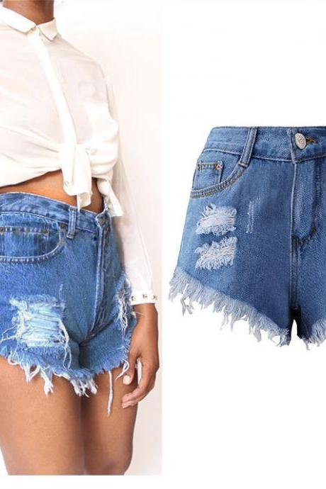 Women Denim Shorts High Waist Ripped Tassels Summer Casual Mini Jeans Shorts blue