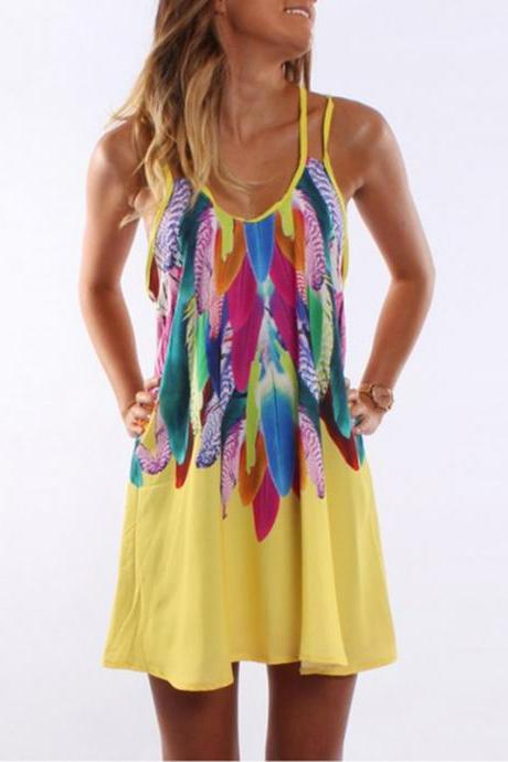 Women Floral Printed Mini Party Dress Spaghetti Strap Summer Beach Casual Sundress yellow