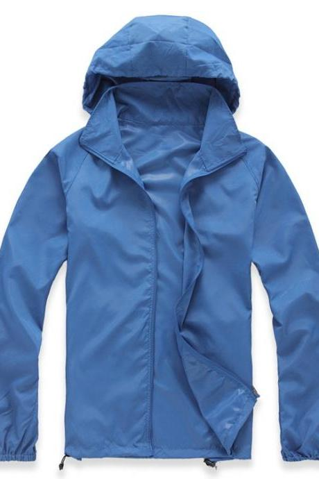 Unisex Sun Protection Clothes Outdoor UV-Proof Quick Dry Fishing Climbing Coat Women Men Hooded Jacket blue