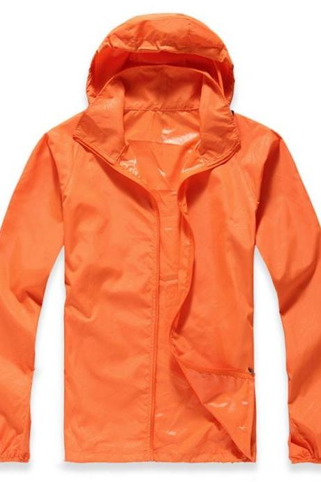 Unisex Sun Protection Clothes Outdoor UV-Proof Quick Dry Fishing Climbing Coat Women Men Hooded Jacket orange