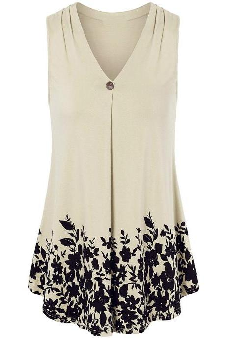 Women Floral Printed Tank Top V Neck Summer Casual Tops Loose Sleeveless T Shirt beige
