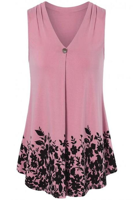 Women Floral Printed Tank Top V Neck Summer Casual Tops Loose Sleeveless T Shirt pink