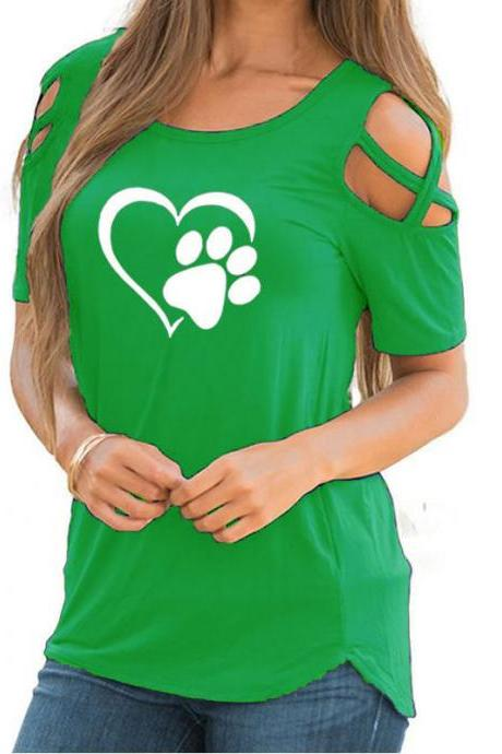 Women T-Shirt Summer Short Sleeve Casual Printed Loose Off the Shoulder Tee Tops green heart
