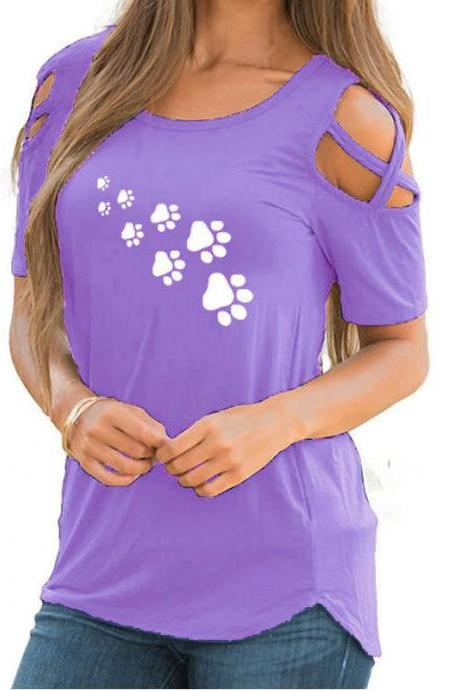 Women T-Shirt Summer Short Sleeve Casual Printed Loose Off the Shoulder Tee Tops lilac footprint
