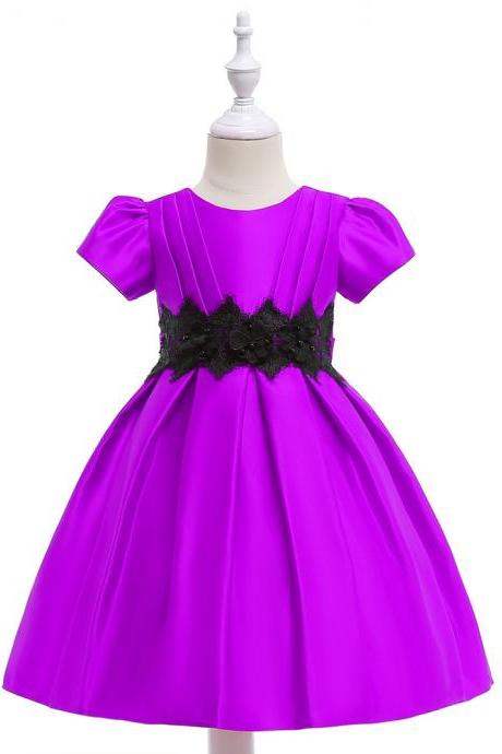 Short Sleeve Flower Girl Dress Lace Formal Birthday Party Tutu Gown Kids Clothes purple