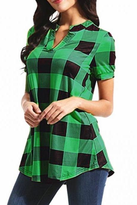 Women Plaid Blouse V Neck Short Sleeve Summer Casual Top Shirt Plus Size Loose T Shirt green