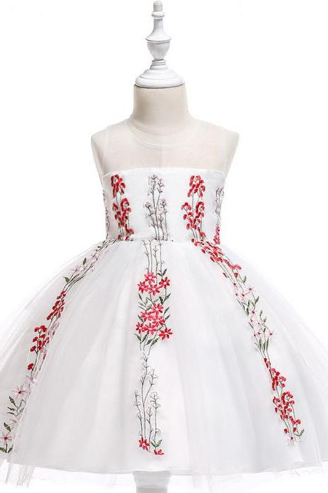 Embroidery Flower Girl Dress Wedding Formal Birthday Party Gown Children Clothes