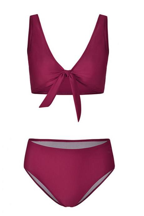 Women Bikini Set Summer Deep V Neck Bow Swimsuit Swimwear Two Piece Set Bathing Suit plum