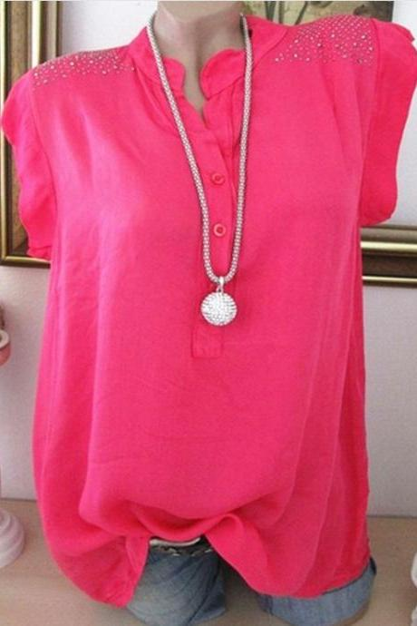 Women Tank Top V Neck Ruffles Summer Casual Loose Hot Drilling Sleevless T Shirt hot pink
