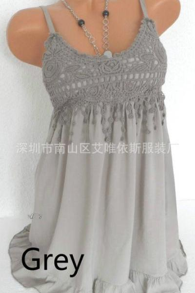 Women Spaghetti Strap Lace Dress Casual Sleeveless Summer Boho Beach Mini Party Sundress gray