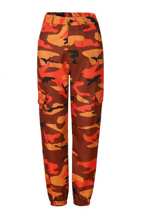 Women Camouflage Harem Pants Casual Loose Jogger Camo Cargo Trousers Sweatpants orange